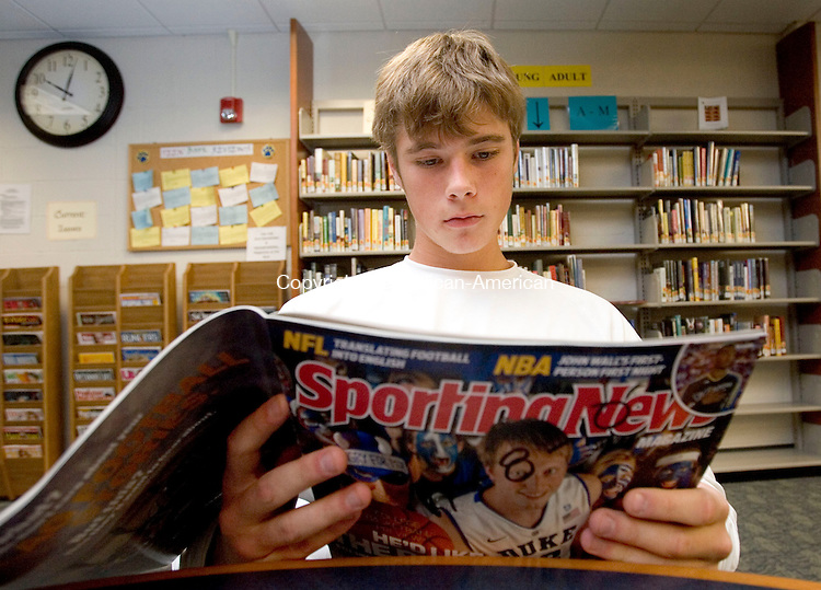 SEYMOUR, CT. 10 November 2010-111010SV12--Nick Reilly, 15, reads silently during a 20 minute silent reading session at Seymour High School in Seymour Wednesday. The hope is to boost interest in reading while increasing CAPT scores.<br /> Steven Valenti Republican-American