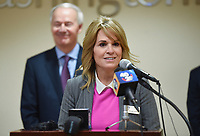 Deborah Jones, Superintendent of Bentonville Schools, speaks, Monday, March 16, 2020 during a press conference at the Pat Walker Center for Seniors in Fayetteville. Check out nwaonline.com/200317Daily/ for today's photo gallery.<br /> (NWA Democrat-Gazette/Charlie Kaijo)<br /> <br /> Gov. Asa Hutchinson, Dr. Nathaniel Smith, Secretary of the Arkansas Department of Health and other officials provided an update regarding Arkansas's coronavirus response.