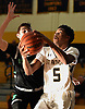 Mikhai Murphy #5 of St. Anthony's, right, looks to get to the net during a non-league boys basketball game against St. Joseph (Metuchen, NJ) iat St. Anthony's High School in South Huntington on Saturday, Dec. 29, 2018. St. Joseph won by a score of 58-55.