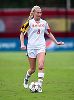 Ashley Spivey (8) of Maryland brings the ball forward at Ludwig Field on the campus of the University of Maryland in College Park, MD. DC. Duke defeated Maryland, 2-1.