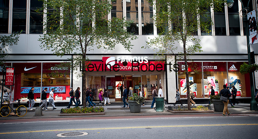 A Famous Footwear store is seen in Herald Square in New York on Thursday, October 18, 2012.  Famous Footwear is part of Brown Shoe Company and has 1,100 stores in the chain. (© Richard B. Levine)