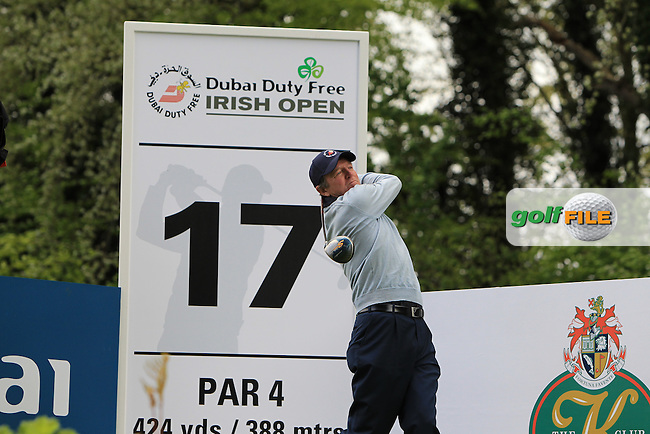 Des Smyth (IRL) on the 17th tee during Wednesday's Pro-Am round of the Dubai Duty Free Irish Open presented  by the Rory Foundation at The K Club, Straffan, Co. Kildare<br /> Picture: Golffile | Thos Caffrey<br /> <br /> All photo usage must carry mandatory copyright credit <br /> (&copy; Golffile | Thos Caffrey)