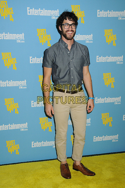 Darren Criss.Entertainment Weekly's Comic-Con 2012 Celebration held at the Hard Rock Hotel Float Lounge, San Diego, California, USA..full length grey gray shirt glasses beard facial hair beige trousers blue watch .CAP/ADM/BP.©Byron Purvis/AdMedia/Capital Pictures.