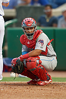 Clearwater Threshers catcher Rodolfo Duran (19) during a Florida State League game against the Dunedin Blue Jays on April 4, 2019 at Spectrum Field in Clearwater, Florida.  Dunedin defeated Clearwater 11-1.  (Mike Janes/Four Seam Images)