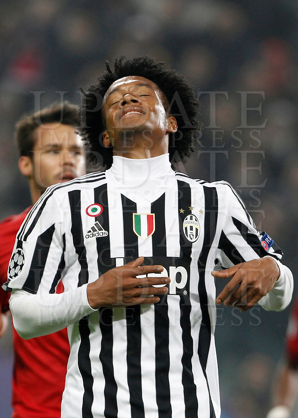Calcio, andata degli ottavi di finale di Champions League: Juventus vs Bayern Monaco. Torino, Juventus Stadium, 23 febbraio 2016. <br /> Juventus' Juan Cuadrado reacts during the Champions League round of 16 first leg soccer match between Juventus and Bayern at Turin's Juventus Stadium, 23 February 2016.<br /> UPDATE IMAGES PRESS/Isabella Bonotto