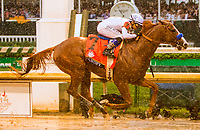 LOUISVILLE, KENTUCKY, MAY 05: Justify, #7, ridden by Mike Smith, wins the Kentucky Derby  at Churchill Downs on May 5, 2018 in Louisville, Kentucky. (Photo by Sue Kawczynski/Eclipse Sportswire/Getty Images)