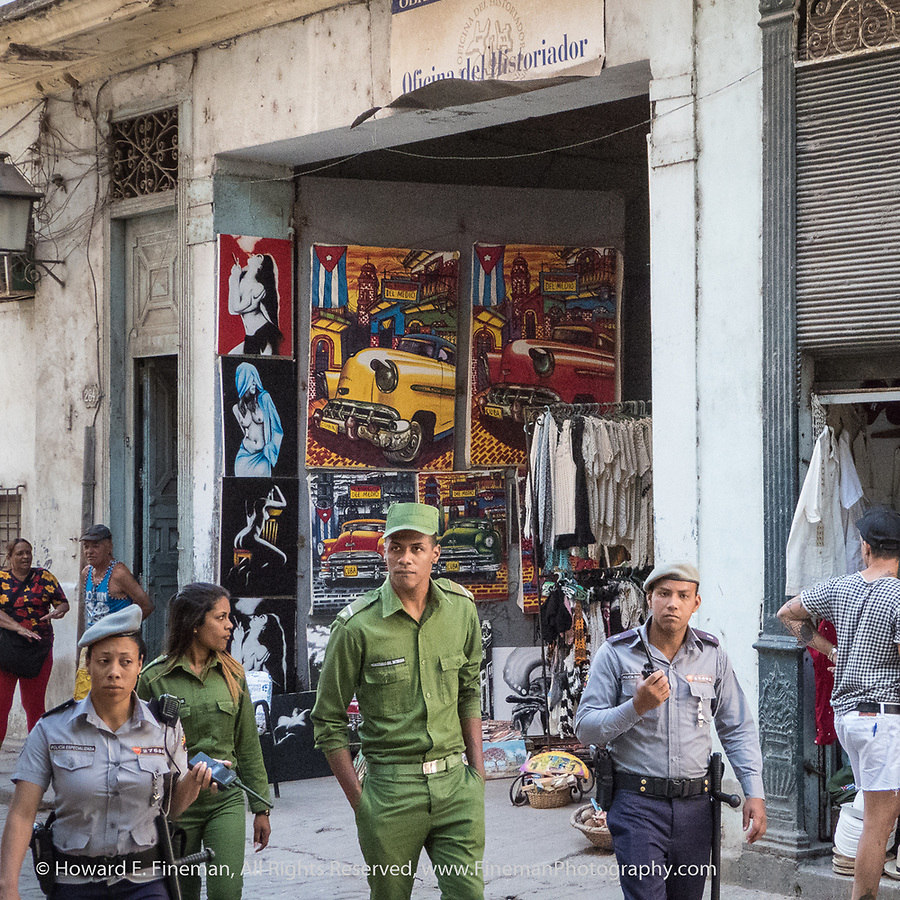 Police and army patrol in Old Havana