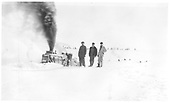 D&amp;RGW OM rotary snow plow working and three crewmen standing on snow to right front.<br /> D&amp;RGW  MP 295 Big Horn Section House, CO  ca 1932