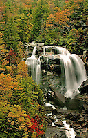The Whitewater Falls waterfall in the North Carolina mountains.