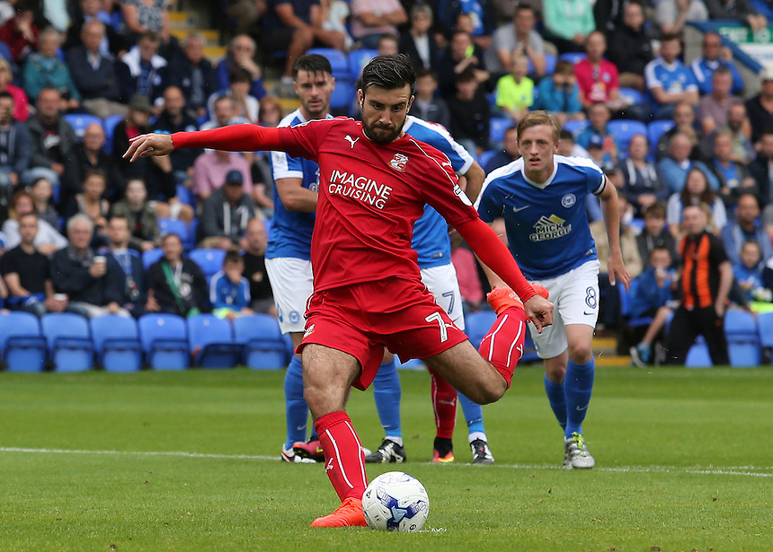 Swindon Town's Michael Doughty scores his sides first goal from the penalty spot (1-1)<br /> <br /> Photographer David Shipman/CameraSport<br /> <br /> The EFL Sky Bet League One - Peterborough v Swindon Town - Saturday 3 September 2016 -  ABAX Stadium - Peterborough<br /> <br /> World Copyright &copy; 2016 CameraSport. All rights reserved. 43 Linden Ave. Countesthorpe. Leicester. England. LE8 5PG - Tel: +44 (0) 116 277 4147 - admin@camerasport.com - www.camerasport.com