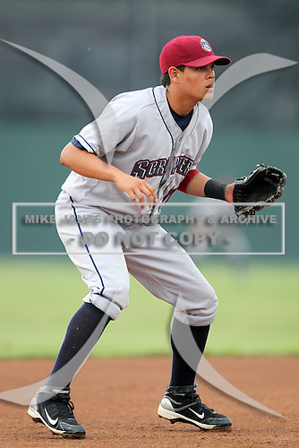Mahoning Valley Scrappers third baseman Giovanny Urshela (10) during a game vs. the Batavia Muckdogs at Dwyer Stadium in Batavia, New York August 2, 2010.   Batavia defeated Mahoning Valley 6-3 in 10 innings.  Photo By Mike Janes/Four Seam Images