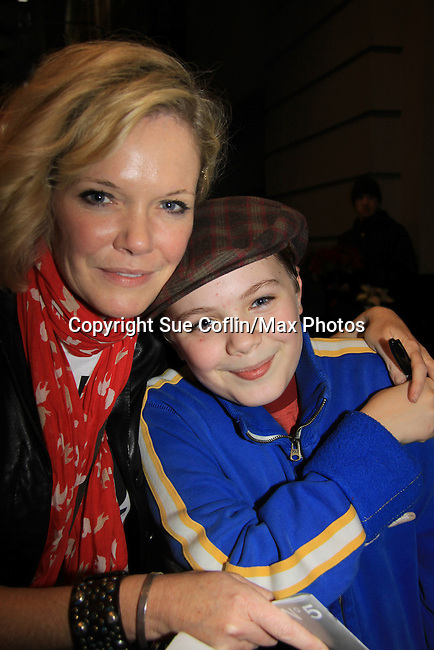 "Joe West, son of Maura West - As The World Turns' ""Carly"" and Young and Restless, makes his Broadway Debut as ""Ralphie"" in A Christmas Story The Musical and poses with his mom Maura on November 21, 2012 at the Lunt-Fontaine Theatre, New York City, New York. (Photo by Sue Coflin/Max Photos)"