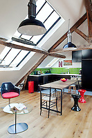 The huge skylights set in the sloping ceiling of the attic apartment create a luminous and tranquil space
