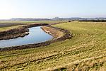 Drainage channel lowland fields inland from flood defence dyke wall, River Deben valley, Falkenham, Suffolk, England, UK