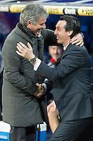coaches of Real Madrid Jose Mourinho and Sevill Unai Emery Etxegoien, warmly greet each other, moments before match starts