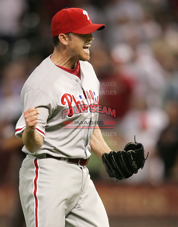 Philadelphia Phillies pitcher Brad Lidge celebrates a win against his former team on Thursday May 22nd at Minute Maid Park in Houston, Texas. Photo by Andrew Woolley / Baseball America..