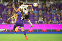 Orlando, FL - Saturday August 12, 2017: Danica Evans, Erica Skroski during a regular season National Women's Soccer League (NWSL) match between the Orlando Pride and Sky Blue FC at Orlando City Stadium.