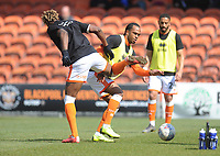 Blackpool's Nathan Delfouneso and Armand Gnanduillet during the pre-match warm-up <br /> <br /> Photographer Kevin Barnes/CameraSport<br /> <br /> The EFL Sky Bet League One - Blackpool v Peterborough United - Saturday 13th April 2019 - Bloomfield Road - Blackpool<br /> <br /> World Copyright &copy; 2019 CameraSport. All rights reserved. 43 Linden Ave. Countesthorpe. Leicester. England. LE8 5PG - Tel: +44 (0) 116 277 4147 - admin@camerasport.com - www.camerasport.com