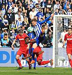 14.04.2018, OLympiastadion, Berlin, GER, 1.FBL, Hertha BSC VS. 1.FC Koeln, im Bild <br /> Mitchell Weiser (Hertha BSC Berlin #23), Jhon C&oacute;rdoba (FC K&ouml;ln #15), Frederik Soerensen (1.FC Koeln #4)<br /> <br /> <br />       <br /> Foto &copy; nordphoto / Engler