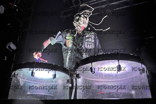MUSHROOMHEAD - drummer Steve Felton -  performing live at the Electric Ballroom in London UK - 30 Mar 2016.  Photo credit: Zaine Lewis/IconicPix