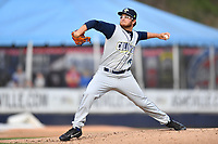 Columbia Fireflies starting pitcher Anthony Kay (18) delivers a pitch during a game against the Asheville Tourists at McCormick Field on April 14, 2018 in Asheville, North Carolina. The Fireflies defeated the Tourists 7-6. (Tony Farlow/Four Seam Images)