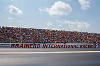 Aug 19, 2017; Brainerd, MN, USA; General view of fans in the Brainerd International Raceway grandstands during NHRA qualifying for the Lucas Oil Nationals. Mandatory Credit: Mark J. Rebilas-USA TODAY Sports