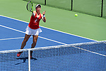 WINSTON SALEM, NC - MAY 22: Emily Arbuthnott of the Stanford Cardinal attacks the net against the Vanderbilt Commodores during the Division I Women's Tennis Championship held at the Wake Forest Tennis Center on the Wake Forest University campus on May 22, 2018 in Winston Salem, North Carolina. (Photo by Jamie Schwaberow/NCAA Photos via Getty Images)