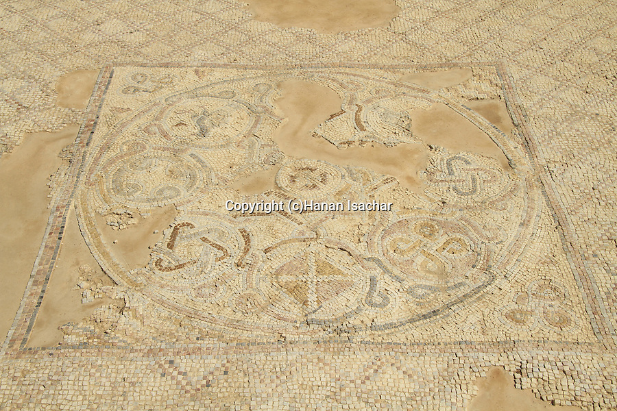Samaria, a floor mosaic by the reconstructed Byzantine Basilica in Tel Shiloh
