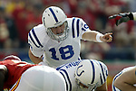 31 October 2004: Peyton Manning. The Kansas City Chiefs defeated the Indianapolis Colts 45-35 at Arrowhead Stadium in Kansas City, MO in a regular season National Football League game..