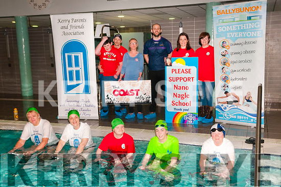 24 Hour Hydrobike: Pictured to announce the upcoming 24 Hour Hydrobike charity event in aid of Nano Nagle School, Listowel & Kerry Parents & Friends, Listowel at the Ballybunion Sports & Leisure Centre on Monday night last were in front Mary Keane, Bernie Daly, JP O'Brien, Karen Segal & Mary Browne. Back : Richard Ahern-Lynch, Liam Madigan, Eilenn Kiely, sponsor, Kieran Kennelly, Suzanne grourke & Fiona Ahern.