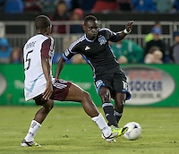 Santa Clara, California - Saturday August 25th, 2012: San Jose Earthquakes' Simon Dawkins dribbles the ball against Colorado Rapids' Joseph Nane during a game at Buck Shaw Stadium, Stanford, Ca    San Jose Earthquakes defeated Colorado Rapids 4 - 1