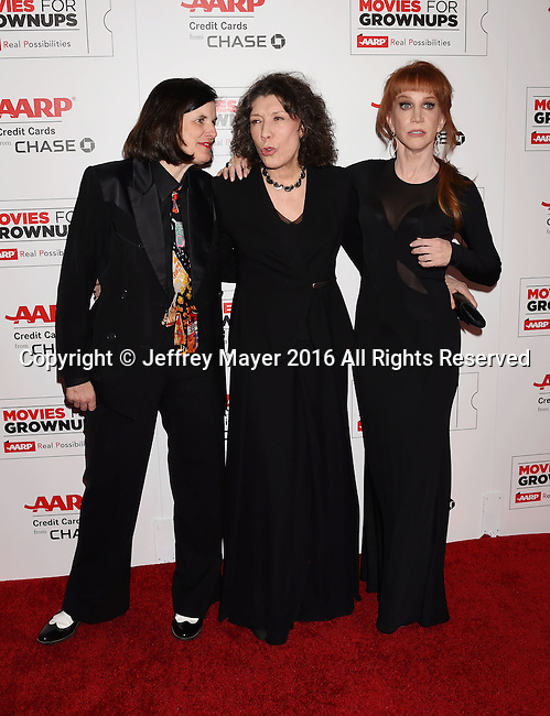 BEVERLY HILLS, CA - FEBRUARY 08: (L-R) Actresses/comediennes Paula Poundstone, Lily Tomlin and host Kathy Griffin attend AARP's Movie For GrownUps Awards at the Regent Beverly Wilshire Four Seasons Hotel on February 8, 2016 in Beverly Hills, California.