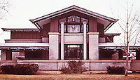 Frank Lloyd Wright:  Dana House, (or Dana-Thomas House) Springfield IL., 1902-1904. Prairie style. A showcase to entertain. Japanese influence.NRHP 1974.(Photo Feb. 1988.)