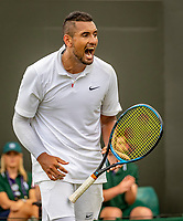London, England, 2 nd July, 2019, Tennis,  Wimbledon, Nick Kyrgios (AUS) screams<br /> Photo: Henk Koster/tennisimages.com