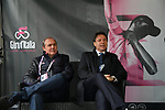 The Prime Minister Giuseppe Conte paid a visit to the Corsa Rosa today pictured with Mauro Vegni Director of the Giro d'Italia at sign on before Stage 5 of the 2019 Giro d'Italia, running 140km from Frascati to Terracina, Italy. 15th May 2019<br /> Picture: Gian Mattia D'Alberto/LaPresse | Cyclefile<br /> <br /> All photos usage must carry mandatory copyright credit (© Cyclefile | Gian Mattia D'Alberto/LaPresse)