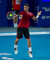 LLEYTON HEWITT (ESP) against FERNANDO VERDASCO (ESP) in the group stage of the Hopman Cup. Spain beat Australia 6-3 3-6 7-5..01/01/2012, 1st January 2012, 01.01.2012..The HOPMAN CUP, Burswood Dome, Perth, Western Australia, Australia.@AMN IMAGES, Frey, Advantage Media Network, 30, Cleveland Street, London, W1T 4JD .Tel - +44 208 947 0100..email - mfrey@advantagemedianet.com..www.amnimages.photoshelter.com.
