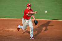Palm Beach Cardinals first baseman Luke Voit (25) flips the ball to first during a game against the Lakeland Flying Tigers on April 13, 2015 at Joker Marchant Stadium in Lakeland, Florida.  Palm Beach defeated Lakeland 4-0.  (Mike Janes/Four Seam Images)
