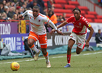 Blackpool's Donervon Daniels gets away from Charlton Athletic's Joe Aribo<br /> <br /> Photographer David Shipman/CameraSport<br /> <br /> The EFL Sky Bet League One - Charlton Athletic v Blackpool - Saturday 16th February 2019 - The Valley - London<br /> <br /> World Copyright © 2019 CameraSport. All rights reserved. 43 Linden Ave. Countesthorpe. Leicester. England. LE8 5PG - Tel: +44 (0) 116 277 4147 - admin@camerasport.com - www.camerasport.com