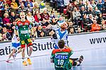 Manuel Spaeth (TVB Stuttgart #9) ; Filip Kuzmanovski (SC Magdeburg #18) beim Spiel in der Handball Bundesliga, TVB 1898 Stuttgart - SC Magdeburg.<br /> <br /> Foto © PIX-Sportfotos *** Foto ist honorarpflichtig! *** Auf Anfrage in hoeherer Qualitaet/Aufloesung. Belegexemplar erbeten. Veroeffentlichung ausschliesslich fuer journalistisch-publizistische Zwecke. For editorial use only.
