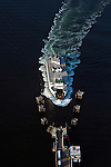 Aerial view of passenger ferry boat going to Southworth Puget Sound Washington State USA