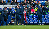 Sunderland manager Chris Coleman watches Didier Ndong of Sunderland leave the field after being sent off during the Sky Bet Championship match between Cardiff City and Sunderland at the Cardiff City Stadium, Cardiff, Wales on 13 January 2018. Photo by Mark  Hawkins / PRiME Media Images.