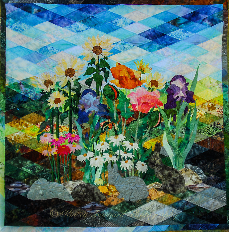 Colorful floral quilt.