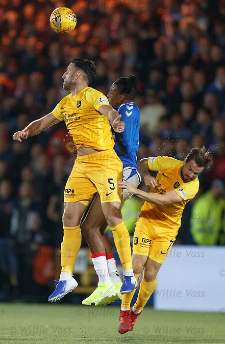 25.09.2018 Livingston v Rangers: Joe Aribo suffers a head knock