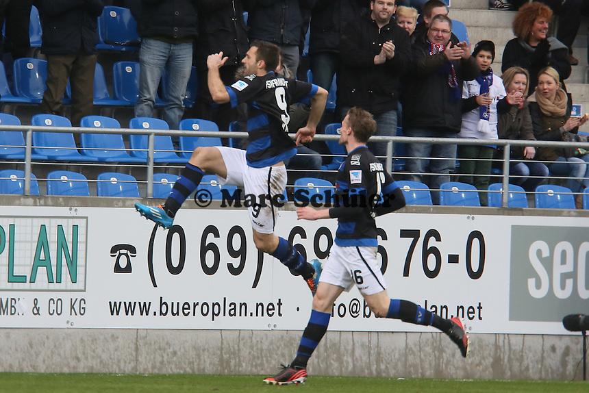 Edmiond Kapllani (FSV) erzielt das 1:1 - FSV Frankfurt vs.Dynamo Dresden, Frankfurter Volksbank Stadion