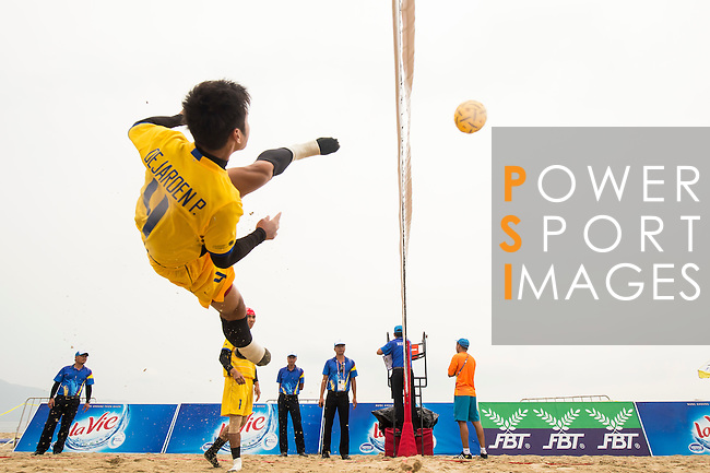 DEJAROEN Phakpong of Thailand Team warms up prior to the Beach Sepaktakraw Men's team competition between India and Thailand on Day Eight of the 5th Asian Beach Games 2016 at My Khe Beach on 01 October 2016, in Danang, Vietnam. Photo by Marcio Machado / Power Sport Images