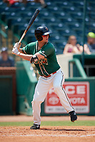 Greensboro Grasshoppers first baseman Micah Brown (10) at bat during a game against the Lakewood BlueClaws on June 10, 2018 at First National Bank Field in Greensboro, North Carolina.  Lakewood defeated Greensboro 2-0.  (Mike Janes/Four Seam Images)