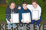 ..WETDAY: On a wet Wednesday Cara Galvin, Paul Murphy and Claire Foley who were given their leaving cert results from the principal of Community College Listowel.....