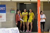 Katrina Grant and Te Huinga Reo Selby-Rickit in action during the ANZ Championship 2014 - Haier Pulse v Waikato Magic at Te Rauparaha  Arena Centre, Porirua, Wellington, New Zealand on Monday 5 May 2014. <br /> Photo by Masanori Udagawa. <br /> www.photowellington.photoshelter.com.