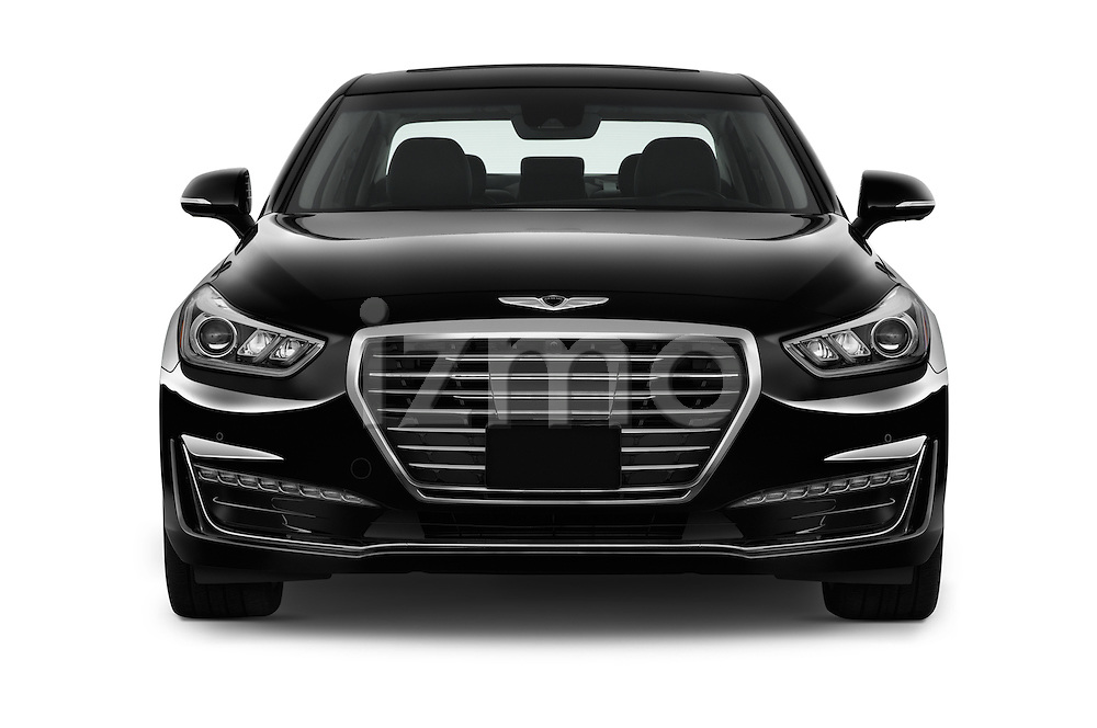 Car photography straight front view of a 2017 Genesis G90 Ultimate 4 Door Sedan Front View