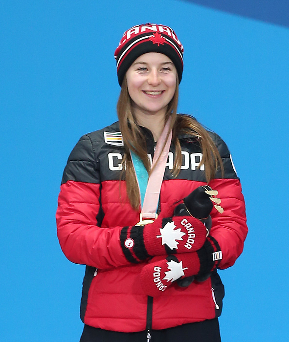 Pyeongchang, Korea, 14/3/2018- Mollie Jepson receives a gold medal at the 2018 Paralympic Games in PyeongChang. Photo Scott Grant/Canadian Paralympic Committee.